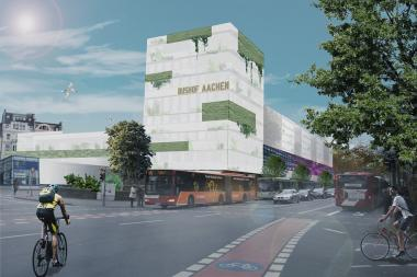 Photo montage of the Aachen Central Bus Station after the introduction of green.fACade
