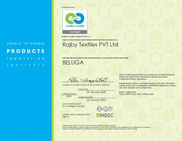 The first Platinum Cradle to Cradle Certificate awarded to Rajby Textiles.