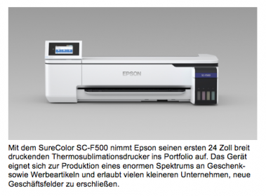 SureColor SC-F500 – 24-Zoll Thermosublimationsdrucker von Epson